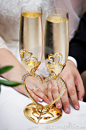 Free Wedding Glasses And Hands With Rings Stock Image - 17056261