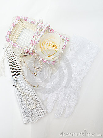 Wedding gloves, rose and fan