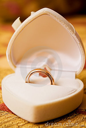 Wedding gold rings in box