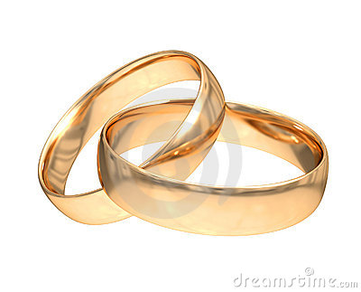 Wedding gold rings on white