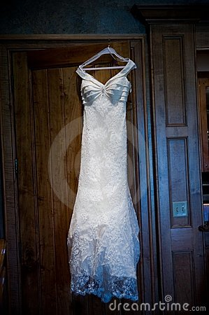 Wedding gown before a ceremony