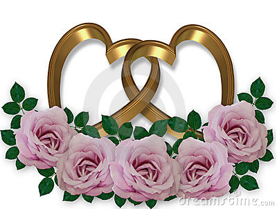 Wedding graphic Gold Hearts rose4s