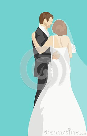 Free Wedding Greeting Card With Bride And Groom Stock Photography - 155171252