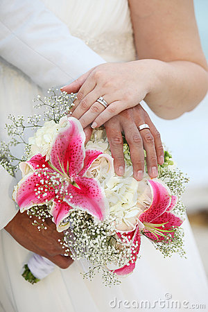 Wedding Hands and Rings on Bouquet - Tropical