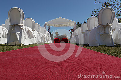 Wedding hut and red carpet