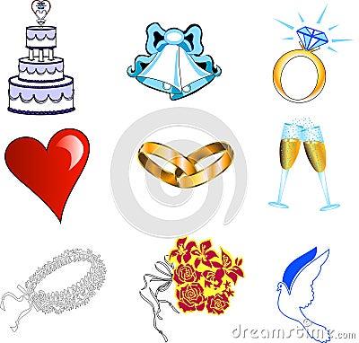Free Wedding Icons Stock Image - 10183021