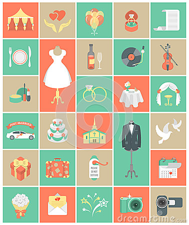 Free Wedding Icons Square Set Stock Photography - 39663942