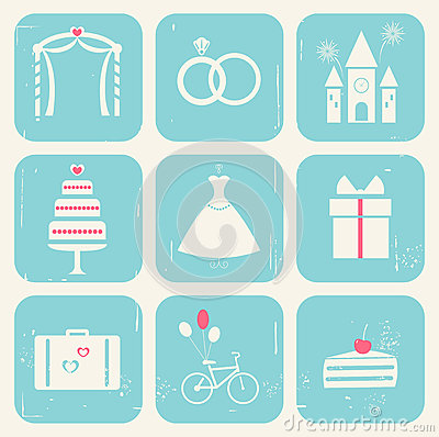 Wedding Icons Vintage Style Stock Vector Image 63151785
