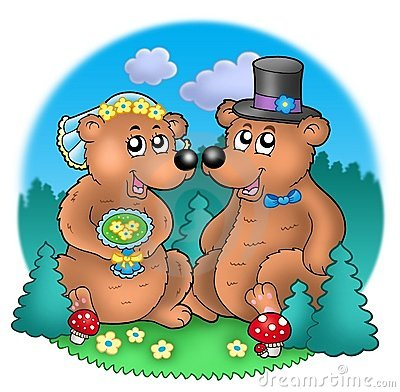 Free Wedding Image With Bears On Meadow Royalty Free Stock Photos - 11149408