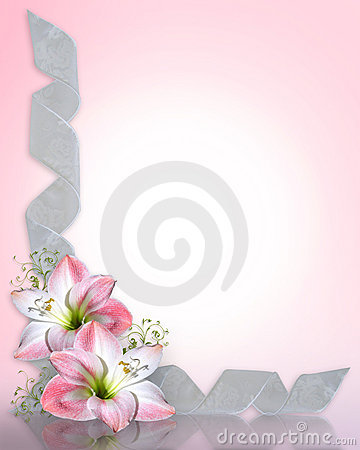 Free Wedding Invitation Amaryllis Pink Border Stock Images - 10408084