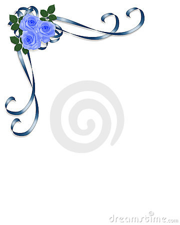 3D Illustrated Ribbons and roses in blue design element for Valentine ...