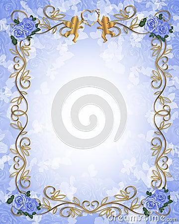 Wedding invitation Blue roses angels