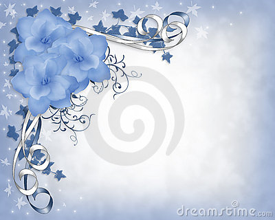 Wedding invitation border Blue Gardenias Floral