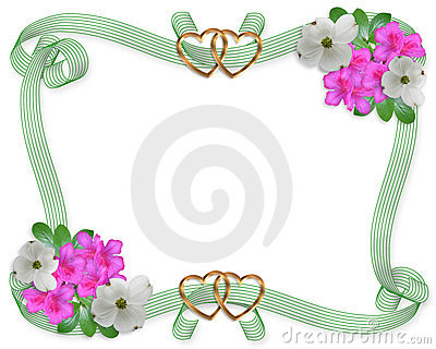 Wedding invitation border flowers and ribbons