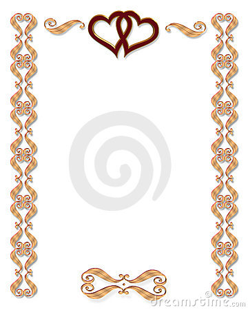 3d scroll accents illustration for elegant formal wedding party