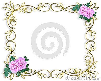 Wedding invitation border pink roses royalty free stock for 3d rose wedding invitations