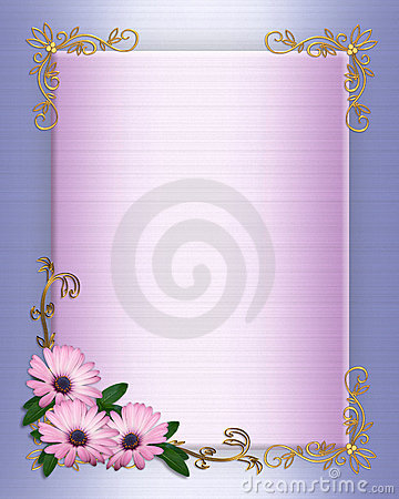 Wedding invitation Border purple flowers