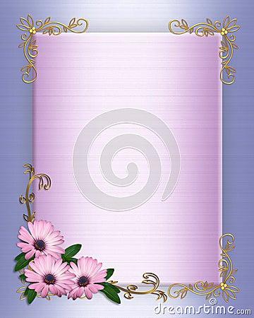 Wedding invitation Border purple flowers