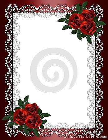 Free Wedding Invitation Border Red Roses Royalty Free Stock Photo - 12647035