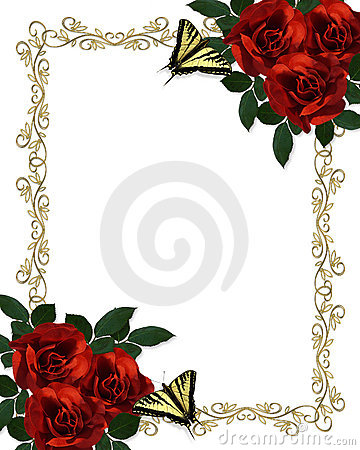 Wedding invitation Border Red Roses Butterflies