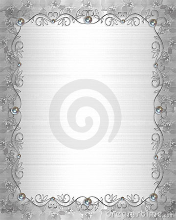 Wedding Invitation Border satin and pearls