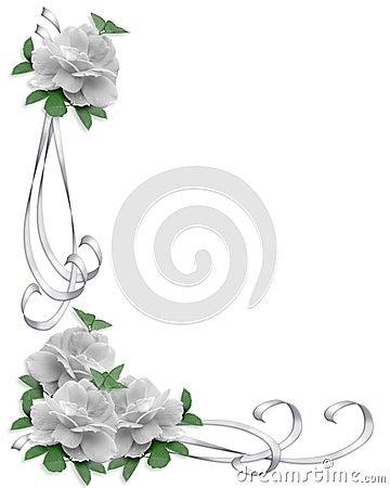 Free Wedding Invitation Border White Roses Royalty Free Stock Images - 7520009