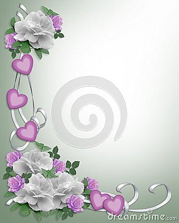 Wedding Invitation Border White Roses