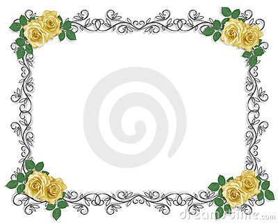Wedding Invitation Border yellow rose