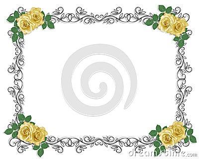 Wedding Invitation Border yellow rose