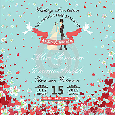 Free Wedding Invitation.Bride And Groom.Flying Hearts,flowers Backgro Stock Photography - 40803912