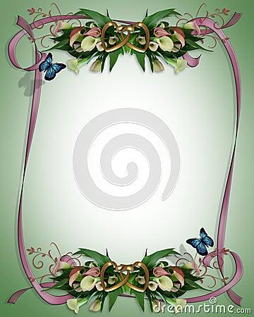 Wedding invitation Calla Lilies Border