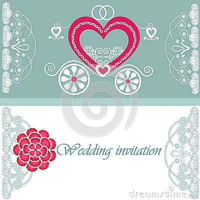 Wedding invitation card with carriage