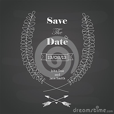 Wedding invitation card with chalkboard style