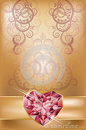 Wedding invitation card with ruby heart