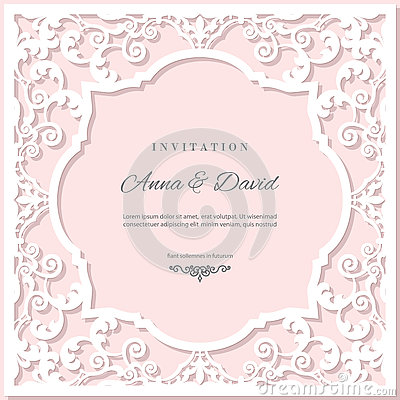 Free Wedding Invitation Card Template With Laser Cutting Frame. Pastel Pink And White Colors. Royalty Free Stock Image - 79800116