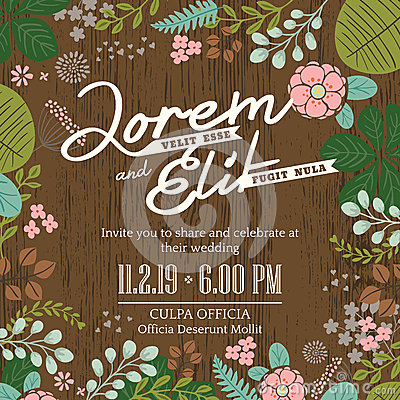 Free Wedding Invitation Card With Cute And Colorful Foliage Backgroun Royalty Free Stock Images - 49574099