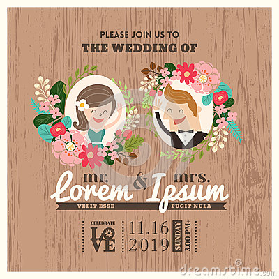 Free Wedding Invitation Card With Cute Groom And Bride Cartoon Royalty Free Stock Images - 46226309