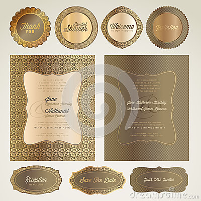 Wedding invitation cards and elements