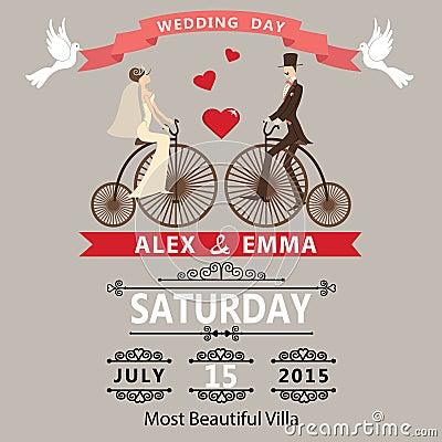 Free Wedding Invitation.Cartoon Bride Groom On Retro Bike Stock Photo - 40920740