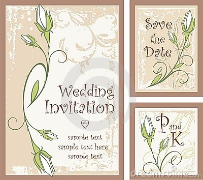 vector set of wedding invitation designs with rose buds