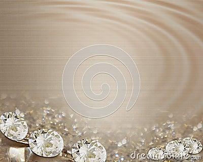 Wedding invitation diamonds on satin
