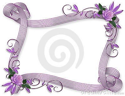 Wedding invitation floral border Lavender