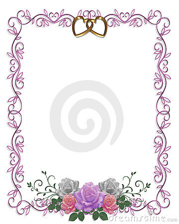 Free Wedding Invitation Floral Border Roses  Royalty Free Stock Images - 7980389