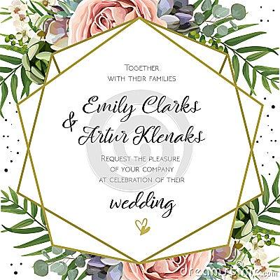 Wedding Invitation, floral invite card Design: Peach lavender pi Vector Illustration