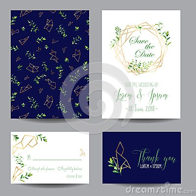Free Wedding Invitation Floral Templates Set. Save The Date Cards With Place For Your Text And Tropical Leaves Stock Photos - 110667923