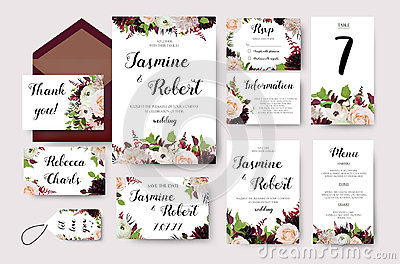 Wedding invitation flower invite card design with garden peach Vector Illustration