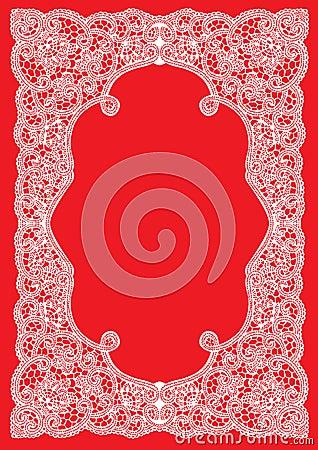 Wedding invitation, frame lace-like