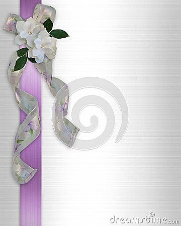Wedding invitation gardenia and ribbons