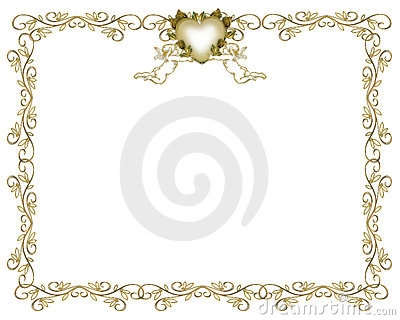 Wedding Invitation Gold Border Angels