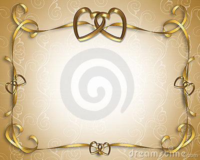 Wedding Invitation golden hearts